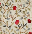 LEE JOFA KRAVET FLORAL EMBROIDERED SILK FABRIC CRIMSON GREEN CREAM