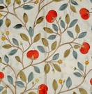 LEE JOFA KRAVET FLORAL EMBROIDERED SILK FABRIC PERSIMMONS AMBER CREAM