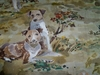 LEE JOFA KRAVET HOUNDS DOGS TOILE LINEN FABRIC CREAM GREEN BROWN MULTI