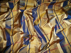 LEE JOFA KRAVET PRESTIN IRIDESCENT CHECK SATIN SILK TAFFETA FABRIC 17 YARD BOLT GOLD BLUE