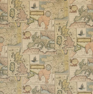LEE JOFA KRAVET OLD WORLD GEOGRAPHY MAPS LINEN TOILE FABRIC BEIGE MULTI