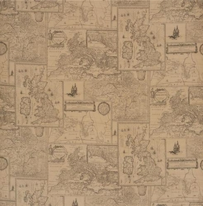 LEE JOFA KRAVET OLD WORLD GEOGRAPHY MAPS LINEN TOILE FABRIC SAND  MULTI