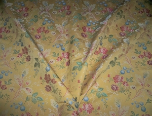 LEE JOFA KRAVET VITA ROSE BOUQUETS ITALIAN LAMPAS BROCADE FABRIC 9 3/4 YARDS MULTI