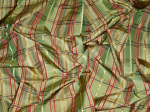 LEE JOFA KRAVET SATIN CORD STRIPES CHECK SILK TAFFETA FABRIC GREEN RED GOLD