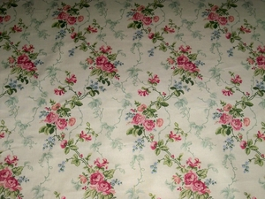 LEE JOFA KRAVET SHABBY ROSES VINE TRELLIS POLISHED COTTON FABRIC 9.5 YARDS CREAM ROSE PINK GREEN BLUE