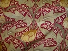 LEE JOFA KRAVET WILLIAM MORRIS INSPIRED ART NOUVEAU LINEN FABRIC BURGUNDY