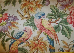 LEE JOFA KRAVET PARROTS & PEONIES COTTON FABRIC 14 YARDS ROSE BLUE GREEN CREAM MULTI