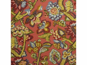 LEE JOFA LA CINTA JACOBEAN FABRIC GREEN BLUE BURGUNDY RED