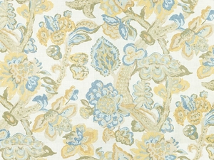 LEE JOFA LA CINTA JACOBEAN FABRIC LEMON BLUE