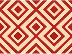 LEE JOFA LA FIORENTINA GEOMETRIC LINEN FABRIC RED