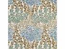 LEE JOFA LEAF CASADE COTTON PRINTED FABRIC AQUA INDIGO BLUE CREAM