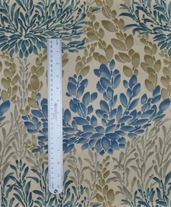 LEE JOFA LEAF CASADE COTTON PRINTED FABRIC INDIGO SLATE CREAM