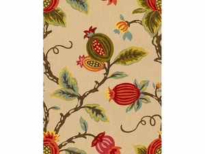 LEE JOFA MANDOVI PRINTED LINEN FABRIC PUMPKIN