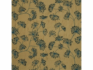 LEE JOFA MEADOW EMBROIDERED SILK FABRIC GOLD TEAL