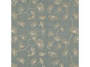 LEE JOFA MEADOW EMBROIDERED SILK FABRIC TEAL