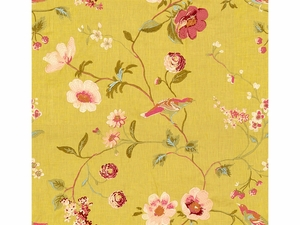 LEE JOFA MEADOWOOD EMBROIDERED LINEN  FABRIC BUTTERCUP