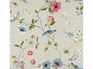 LEE JOFA MEADOWOOD EMBROIDERED LINEN  FABRIC MIST
