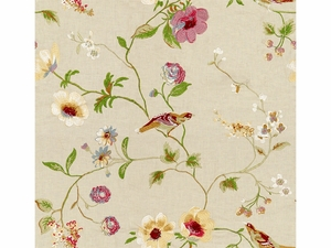 LEE JOFA MEADOWOOD EMBROIDERED LINEN FABRIC ALABASTER