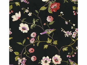 LEE JOFA MEADOWOOD EMBROIDERED LINEN  FABRIC ONYX