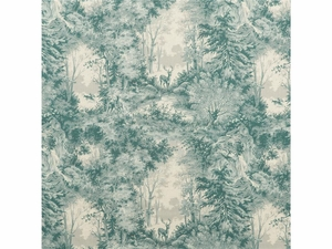 LEE JOFA MOOSE LODGE WILDERNESS SCENIC TOILE LINEN FABRIC TEAL