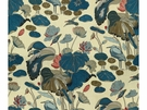 LEE JOFA NYMPHEUS PRINT LINEN FABRIC TEAL MULTI
