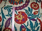 LEE JOFA OSCAR DE LA RENTA TERMEZ EMBROIDERED CREWEL FABRIC TEAL MULTI