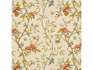 LEE JOFA PEONY & BLOSSOM LINEN FABRIC  BURNT ORANGE / LIME