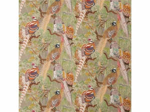 LEE JOFA PHEASANT BIRDS LINEN FABRIC STONE MULTI