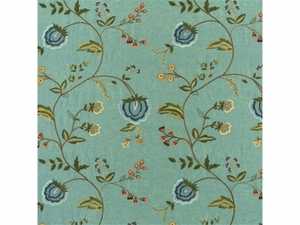 LEE JOFA SARABANDE FLORAL EMBROIDERED SILK LINEN FABRIC TEAL
