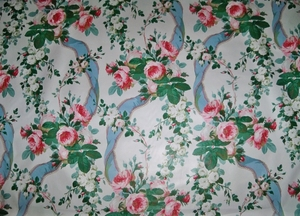 LEE JOFA KRAVET WARNER SHABBY ROSES & RIBBONS COTTON CHINTZ FABRIC 10 YARDS BLUE WHITE MULTI