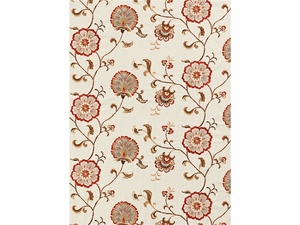 LEE JOFA SWANBOROUGH EMBROIDERED FLORAL COTTON LINEN FABRIC CORAL ANTIQUE