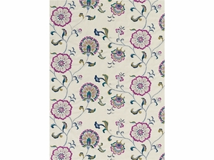 LEE JOFA SWANBOROUGH EMBROIDERED FLORAL COTTON LINEN FABRIC MAGENTA TEAL SILVER