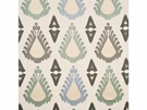 LEE JOFA THREADS EXUBERANCE EMBROIDERED IKAT KILIM FABRIC AQUA IVORY MULTI