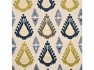 LEE JOFA THREADS EXUBERANCE EMBROIDERED IKAT KILIM FABRIC INDIGO CELERY