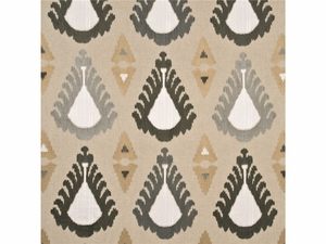 LEE JOFA THREADS EXUBERANCE EMBROIDERED IKAT KILIM FABRIC LINEN PEWTER