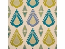 LEE JOFA THREADS EXUBERANCE EMBROIDERED IKAT KILIM FABRIC TEAL CELERY
