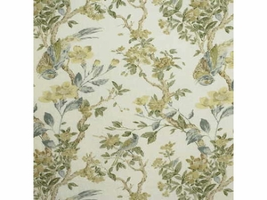 LEE JOFA TRESILLIAN LINEN FLORAL BIRDS FABRIC OFF WHITE