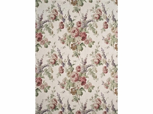 LEE JOFA VINTAGE FLORAL LINEN FABRIC GREEN ROSE