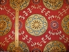MAGNIFICENT EMBROIDERED APPLIQUE SUZANI MEDALLIONS LINEN FABRIC 3.5 YARDS MULTI