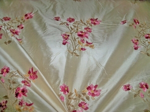 MAGNIFICENT!!...STROHEIM & ROMANN ANTOINETTE EMBROIDERED SILK FABRIC 13 YARD BOLT