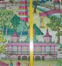 MANUEL CANOVAS ASIAN CHINOISERIE TOILE FABRIC 10 YARDS PINK ROSE GREEN MULTI