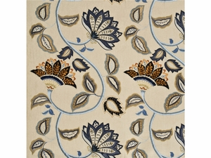 MULBERRY HOME ANASTASIA LINEN FABRIC BLUE GOLD