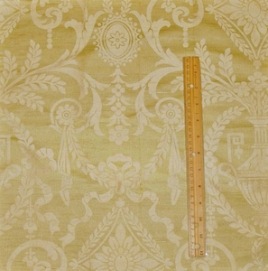 NEOCLASSICAL NAPLES URNS HANDPRINTED SILK TOILE FABRIC GOLD OPAL