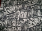 NEW YORK WALL STREET MANHATTAN SOHO COTTON TOILE FABRIC 10 YARDS BLACK GRAY