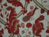 OSCAR DE LA RENTA JACOBEAN BLOOMSBURY LINEN FABRIC RED / GOLD
