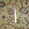 PASARI JAKARA JACOBEAN WOOL CREWEL EMBROIDERED VELVET FABRIC BUTTERCREAM