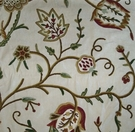 PASARI JAKARA JACOBEAN WOOL CREWEL EMBROIDERED VELVET FABRIC CREAM MULTI
