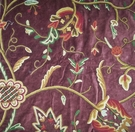 PASARI JAKARA JACOBEAN WOOL CREWEL EMBROIDERED VELVET FABRIC PLUM MULTI