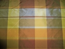 PASARI MANGO CHECK PLAID SILK TAFFETA MANGO ORANGE PERSIMMONS 30 YARD BOLT