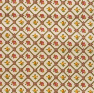 PIERRE DEUX KRAVET FRENCH COUNTY PETITE FLORAL DIAMONDS TOILE FABRIC 10 YARDS MAIZE BURGUNDY